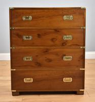 Yew wood Campaign Style Chest Drawers (9 of 9)