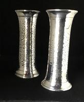Pair of Arts and Crafts Planished Silver Plated Vases. By Lee and Wigfall. (4 of 7)
