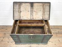 Large Distressed Painted Metal Bound Trunk (7 of 10)