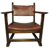 Fine Vintage Early 20th Century Original Adolf Loos Vienna Fireside Leather Armchair Secessionist Oak (2 of 46)