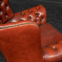 Burgundy Leather Chesterfield Wing-back Armchair (10 of 10)