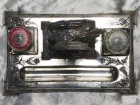 Antique Victorian Silver Plate Crane Bird Inkwell Stand After James Deakin (37 of 37)