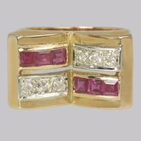 Art Deco Diamond & Ruby 18ct Gold Vintage French Retro Cocktail Ring 1930's (3 of 10)