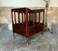 Regency Revival Mahogany Canterbury Sheet Music Magazine Rack with Brass Casters (4 of 11)