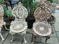 Set of Four Cast-iron Garden Chairs c.1900 (3 of 6)