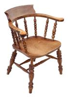Elm and Beech Bow Armchair Elbow Desk Chair Victorian C1890 (7 of 8)