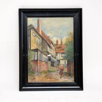 Antique Watercolour Painting of The Mermaid Inn, Rye by Annie L. Lee