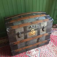 Antique Victorian Dome Top Steamer Trunk Old Gothic Travel Chest Metal Storage Box Steampunk Style (4 of 10)