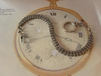 Antique Pocket Watch Chain 1890s Victorian Silver Nickel Herringbone Link Albert (4 of 11)