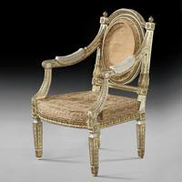 Extremely Fine & Decorative Set of Four 19th Century Italian Painted And Parcel Gilt Armchairs of Neo-Classical Design (5 of 7)