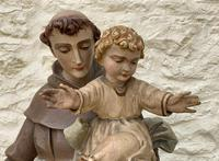 Exceptional Early 1900's Signed 39'' Carved Sculpture Statue St Anthony & Jesus (8 of 18)