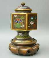 Japanese Cloisonne Lidded Vase on Hardwood Stand (3 of 7)