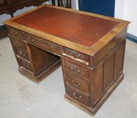 1920s Oak Desk with Red Leather Inset . 1 Piece. (3 of 4)
