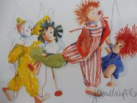 Watercolour The Puppets listed Irish artist Judith Caulfield Walsh (10 of 10)