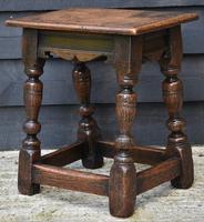 Lovely 19th Century Oak Joint Stool c.1800-1850 (9 of 10)