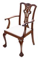 Set of 8 (6+2) mahogany dining chairs Georgian revival C1910 (10 of 11)