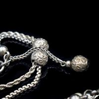 Antique Victorian Sterling Silver Albertina Albert Watch Chain Bracelet with Chased Balls (4 of 9)