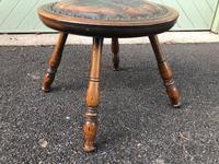 Arts & Crafts Oak & Leather Stool (5 of 7)