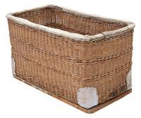 Vintage large strong cane and pig skin log or storage basket (8 of 8)