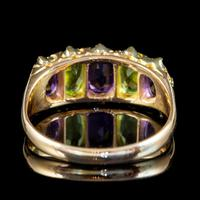 Antique Edwardian Suffragette Ring 18ct Gold Peridot Amethyst Diamond c.1910 (3 of 5)