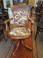 Antique Oak Swivel Desk Chair