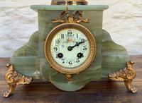Elegant Tall 19th Century French Gilt Metal & Onyx Garniture Mantel Statue Clock Set (8 of 13)