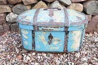 Scandinavian / Swedish 'Folk Art' Travel chest in blue paint and ironwork, 18th Century (20 of 37)