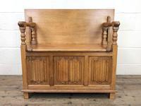 Antique Panelled Pale Oak Monk's Bench (m-2300) (4 of 9)