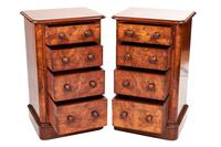 Pair of Victorian Burr Walnut 4 Drawer Bedside Chests (2 of 6)