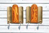 Pair of Swedish Art Deco Double Candle Sconces by Mjolby Intarsia c.1930 (4 of 21)