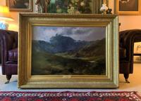 (2of2) Huge Magnificent 19thc Snowdonia Mountain Welsh Landscape Oil Painting (11 of 13)