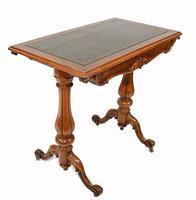 Victorian Writing Table Walnut Tulip Leg Desk c.1880 (4 of 10)