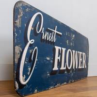 """Vintage Painted Shop Sign 1950s """"Ernest Flower"""""""