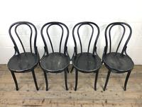 Set of Four Ebonised Bentwood Café Chairs