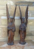 Good Pair of Carved Oak Angels 19th Century (2 of 12)