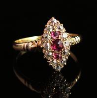 Victorian Ruby & Diamond Navette Ring (2 of 14)