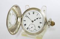 Antique Silver Moeris Half Hunter Pocket Watch (2 of 5)