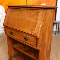Oak Bureau Arts & Crafts Writing Desk Chest Edwardian Slim (8 of 12)