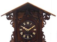 Rare Fusee Cuckoo Mantel Clock – German Black Forest Carved Bracket Clock (3 of 10)