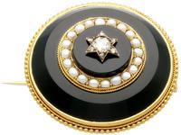 0.41ct Diamond, Pearl & Black Onyx, 18ct Yellow Gold Brooch c.1890 (4 of 9)