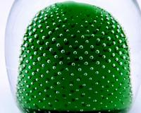 Jaffe Rose Glass Magnum Controlled Bubble Green Paperweight Czech Bohemia (3 of 6)