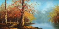 Immaculate Large Original Mid-20thc Vintage Autumn River Landscape Oil Painting (2 of 11)