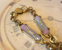 Art Nouveau Pocket Watch Chain 1900 Brass Albert with Pink & Blue Glass Panels (5 of 12)