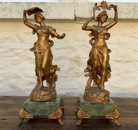 Elegant Tall 19th Century French Gilt Metal & Onyx Garniture Mantel Statue Clock Set (6 of 13)