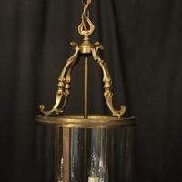 French Gilded Brass Triple Light Antique Lantern (2 of 10)