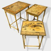 Italian Painted Nest of Tables with Map Prints (4 of 10)