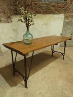 Industrial Vintage Folding Trestle Dining Table with Metal Legs & Reclaimed Top (9 of 17)