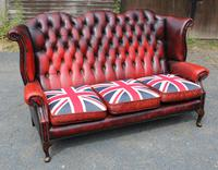 1960s Red Leather Chesterfield Wingback 3 Seater Sofa with Union Jack Cushions (2 of 4)