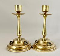 Brass Candlesticks Set with Cabochon Agates (5 of 5)
