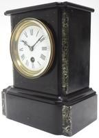 Antique French Slate & Marble Mantel Clock 8 Day Mantle Clock (7 of 9)